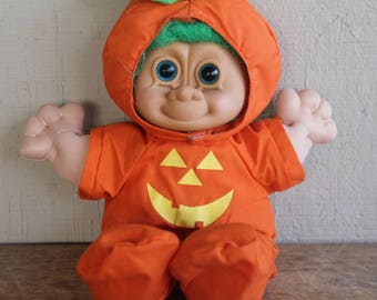 "Adorable Vintage Russ  Cloth Troll  Doll 14"" Halloween Costume"