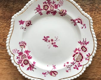Vintage Ornate Fuchsia 19th Century Floral Dinner Plate