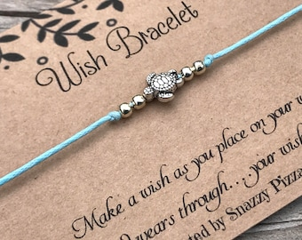 Turtle Wish Bracelet, Make a Wish Bracelet, Wish Bracelet, Friendship Bracelet, Sea Turtle, Beach Bracelet, Gift for Her, Favour Gift