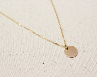 Dainty Gold Coin Necklace / Gold Disc Necklace / Gold Layering Necklace / Bridesmaid Necklace / Bridal Jewelry