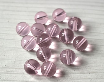 12mm transparent pink glass round beads