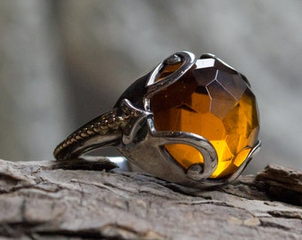 Citrine ring, Bohemian Ring, gemstone ring, gypsy ring, large ring, cocktail ring, two tones ring, boho ring, unique - Bright light - R2167