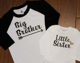Big Brother Shirt, Little Sister, Big Brother Raglan Shirt, Big Brother,  New Baby Announcement, Big Brother raglan Shirt, Big Brother Shirt