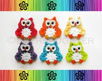 PATTERN-Crochet Owl Applique-Detailed Photos