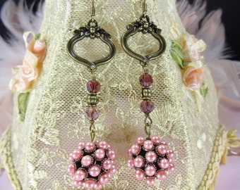 Earrings Chandelier Pink Pearl Cluster and Ancient Brass