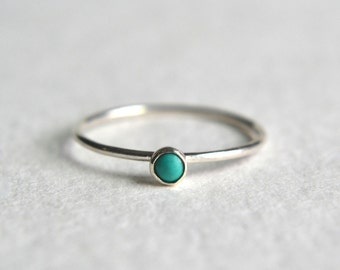 Sterling Silver Turquoise Ring, Silver Turquoise Ring, Turquoise Ring Silver, Stacking Ring, Dainty Ring, Stackable Ring, Simple Ring
