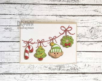 Christmas Holiday Greeting Cards and Prints: Cookie Garland- (CARD-CookGarl10)