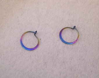 Hoops. Tiny Sleeper Hoop earrings in Hypoallergenic Rainbow Niobium