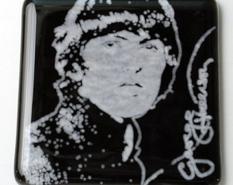 George Harrison Beatles Musician Fused Glass Coaster, Music, Singer, Guitarist, Rock and Roll