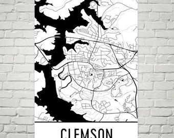 Clemson Map, Clemson Art, Clemson Print, Clemson SC Poster, Clemson Wall Art, Clemson Gift, Clemson Decor, Clemson Map Art, Map Art Print