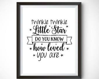 Printable Wall Art - Twinkle Twinkle Nursery Prints Home Decor Instant Download
