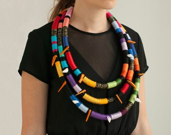 Oversized African Necklace, Multi Strand Necklace, Statement Ethnic Necklace, Tribal Rope Necklace, African Necklace, Big Necklace