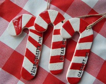Personalized Christmas Ornament, Candy Cane Ornament, Ceramic
