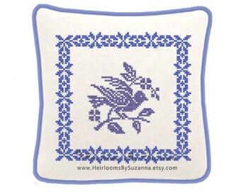 Machine Cross Stitch Bird Design with Frame - Large Machine Embroidery Design, Antique, Vintage - Great for Pillows - 8x8 - HBS-BIRD-4D