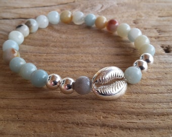 Bracelet with amazonite and 6 mm silver, more shell beads