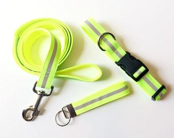 Reflective Dog Collar - Running Dog Collar - Adjustable Dog Collar - Designer Dog Collar Medium or Large