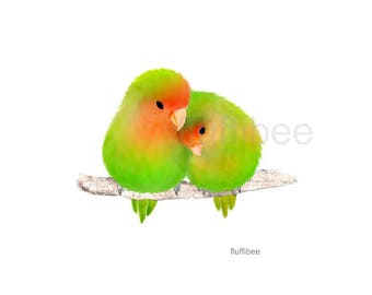 Lovebird print, lovebirds painting, pair of lovebirds, bird painting, bird gift, bird decor, bird poster, parrot, parrots