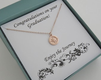 Graduation Gift for Her, Rose Gold Compass Necklace, Enjoy the Journey, Compass Necklace, Retirement Gift for Women, MarciaHDesigns, MHD