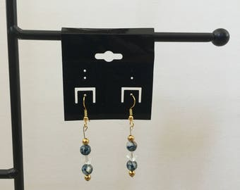 gold, blue marble dangle earrings