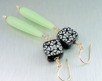 Black and Green Earrings - Czech Glass and Polymer Clay Earrings - Shoulder Dusters