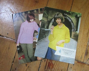1960s Greenock knitting patterns for a ribbed sweater, and jacket
