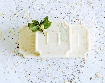 Coffee Oatmeal Vanilla Bean w/ Peppermint Garnish Soap