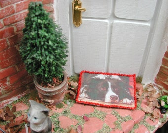 Dollhouse Miniatures, miniature doormat Border Collie, doormat in 1zu12 for the doll house, doll parlor, collector