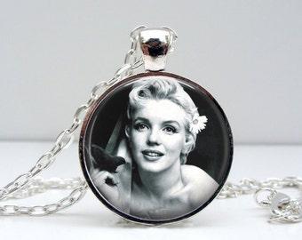 Marilyn Monroe Necklace - Flower Hair - Glass Photo Pendant Picture Pendant (1493)