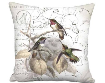 16x16 Inch - READY TO SHIP - Hummingbird Glow Linen Cotton Pillow with Insert - French Linen Rustic Cottage Grain Sack Style Bird Cushion