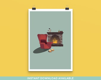 Armchair by the Fire Art Print