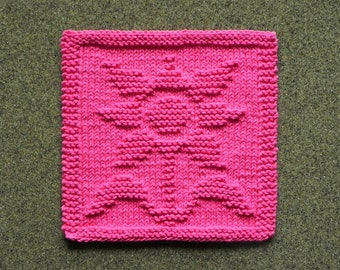 Hot Pink FLOWER Knitted Wash Cloth or Dishcloth is 100% Cotton. Unique Mother's Day Gift. Hand Knitted Shower Hostess Gift, Dishrag, Washrag