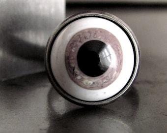 Creepy Eyeball Ring - Black, Grey Gray, White Eye Cocktail Ring, Vintage Cabochon, Adjustable Ring, Evil Eye, Goth Gothic Halloween Jewelry