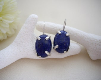Lapis lazuli cabochon earrings, Blue silver earrings, Prong setting stone, Artisan earrings, Handmade Silversmith jewelry, Gift for mom