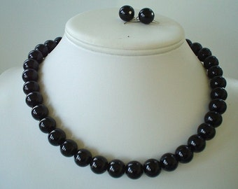 Chunky Black Glass Pearl Beaded Necklace Set     Great for Bridesmaid Gifts