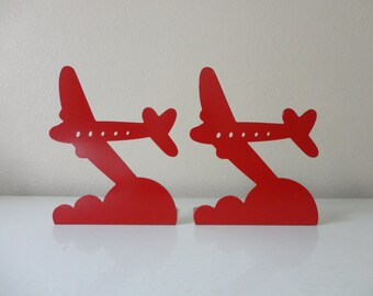 VINTAGE red metal AIRPLANE BOOKENDS - 1976 randall schwartz - moxie - moxie brand inc. - kids room decor