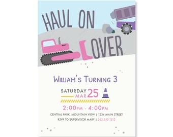 Printed Invitations - Construction Trucks
