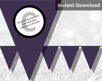Dark Purple, Eggplant Solid Birthday Party Bunting Pennant Banner Instant Download, Party Decorations