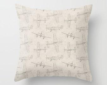 Airplane Pillow Cover Gray Pillow Throw Pillow Decorative Pillow Size Choice