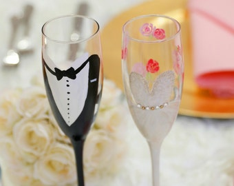 Hand Painted Bride and Groom Champagne Glasses