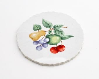 Broken China Mosaic Tiles - Focal Tile - Fruit - Round - Broken Plate Art - Mosaic Art Work