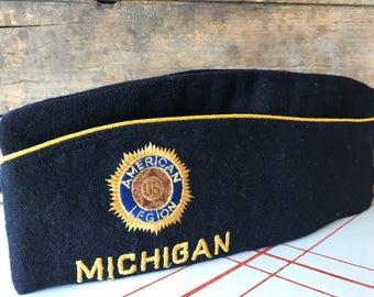 Vintage Michigan American Legion Hat Local 283 American Legion Pin Wool Hat