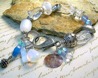 Bold Boho Czech Glass Bead Bracelet With Mixed Material & Beads, Crystal, Silver
