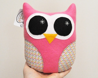 Pink Plush Owl With Geometric Triangles - READY TO SHIP