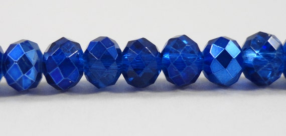 """Fire Polished Glass Beads 6x4mm Half Cobalt Blue Half Metallic Crystal Rondelle Beads, Chinese Crystal Beads on a 9"""" Strand with 50 Beads"""