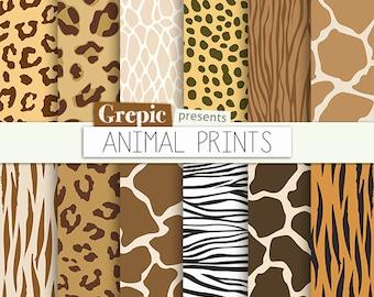 "Animal print digital paper: ""ANIMAL PRINTS"" w/ zebra print, panther, tiger, cheetah giraffe, reptile, leopard patterns | safari backgrounds"