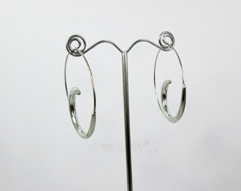 Large Silver Spiral Hoop Earrings Open Hoop Earrings Silver Spiral Hoop Earrings Large Silver Hoops Geometric Earrings Large Circle Earrings
