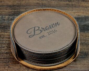 Personalized Coaster Set, Customized Leather Coasters, Custom Coasters, Engraved Coasters, Monogrammed Coasters, Personalized Wedding Gift