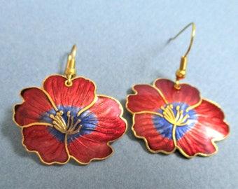 Lotus Blossom Earrings Cloisonne Pierced Earrings Red Blue Enamel Gold Vintage Jewelry Ear Hooks Gift for Women Cloisonne Asian Jewelry