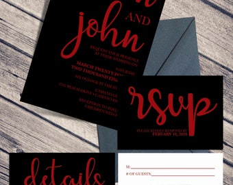 Wedding Invitation Suite / Black and Bold / RSVP / Invitation / Response / Details / Wedding Set / Black Wedding Set / 5x7 Invitation