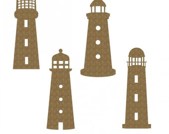 Creative Embellishments Chipboard Lighthouses, 4 pieces